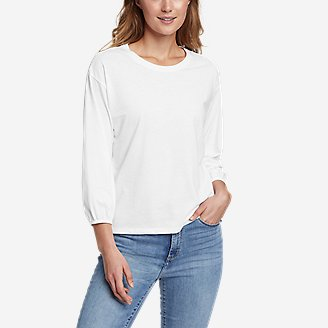 Thumbnail View 1 - Women's Myriad 3/4-Length Puff Sleeve Top - Solid