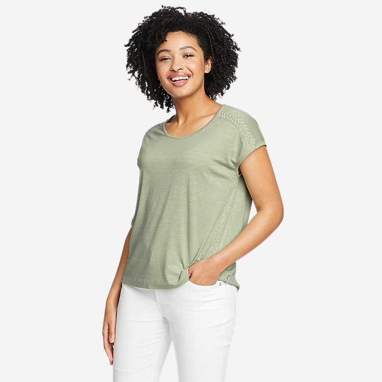 Women's Gate Check Embroidered Short-Sleeve T-Shirt large version