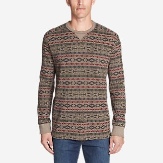 Thumbnail View 1 - Men's Thermal Long-Sleeve Crew - Print