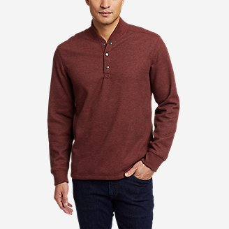 Thumbnail View 1 - Men's Faux Shearling-Lined Thermal Henley