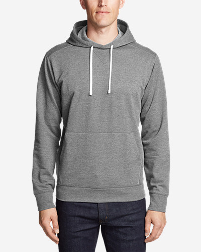 Men's Camp Fleece Pullover Hoodie Serious comfort in a classic pullover hoodie sweatshirt. Robust cotton/polyester fleece is brushed for extra softness. Rib-knit cuffs and hem enhance shape retention.