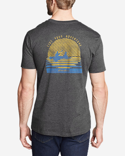 Men's Graphic T-Shirt - Setting Sun Our graphic T-shirts raise the bar on comfort and quality. Sporting exclusive screenprint images, each shirt is purposely developed using a soft, lighter weight cotton/polyester. The cool, comfortable fabric resists shrinkage, won't twist out of shape after washing, and holds its color, even through regular use.