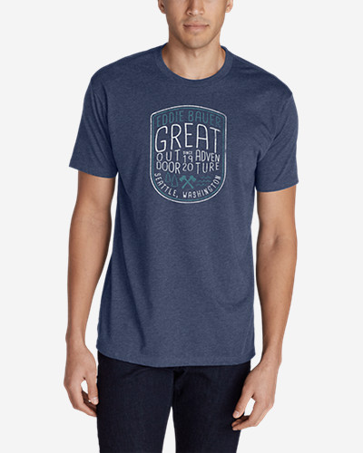 Men's Graphic T-Shirt - Great Outdoor Adventure Our graphic T-shirts raise the bar on comfort and quality. Sporting exclusive screenprint images, each shirt is purposely developed using a soft, lighter weight cotton/polyester. The cool, comfortable fabric resists shrinkage, won't twist out of shape after washing, and holds its color, even through regular use.