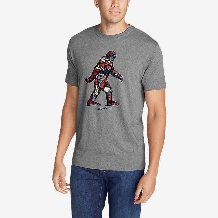 Men's Graphic T-Shirt - Red, White & Blue Squatch large version
