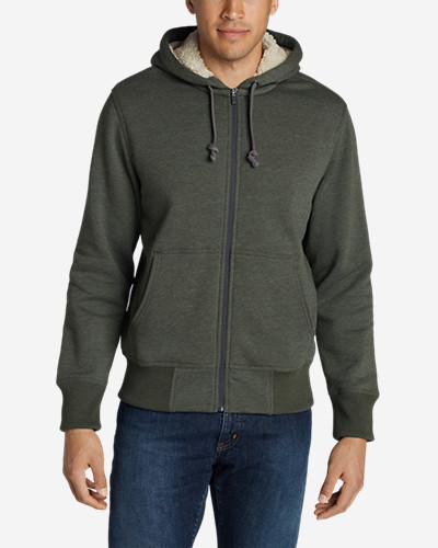 Men's Cascade Falls Sherpa-Lined Hoodie Premium zip-front hoodie of robust cotton/polyester is fully lined with plush, chill-stopping Sherpa fleece. Rib-knit cuffs and hem for enhanced fit and shape retention.