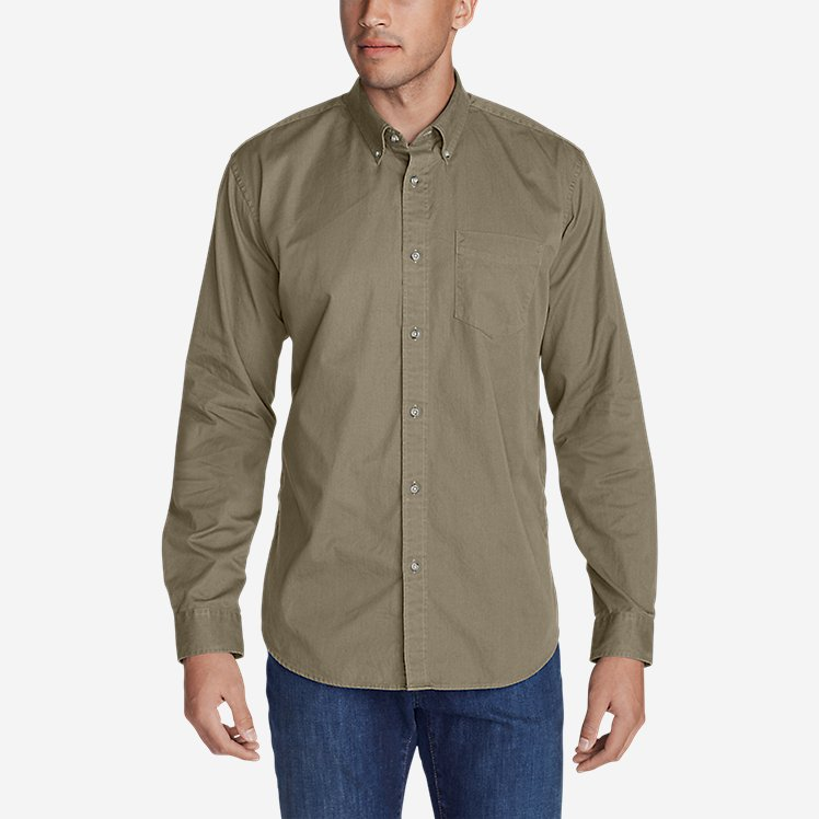 Men's Signature Twill Classic Fit Long-Sleeve Shirt - Solid large version