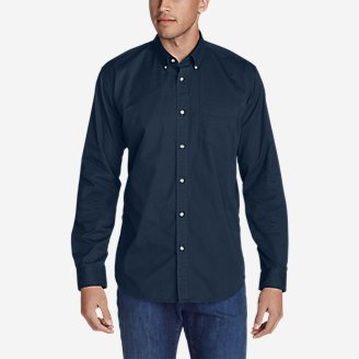 Thumbnail View 1 - Men's Signature Twill Classic Fit Long-Sleeve Shirt - Solid