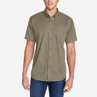 Thumbnail View 1 - Men's Signature Twill Classic Fit Short-Sleeve Shirt - Solid