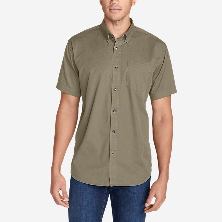 Men's Signature Twill Classic Fit Short-Sleeve Shirt - Solid large version