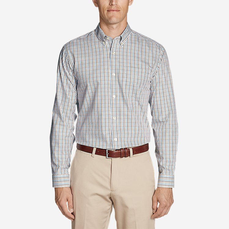 Men's Wrinkle-Free Pinpoint Oxford Classic Fit Long-Sleeve Shirt - Seasonal Pattern large version