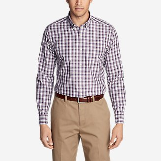 Thumbnail View 1 - Men's Wrinkle-Free Pinpoint Oxford Classic Fit Long-Sleeve Shirt - Seasonal Pattern