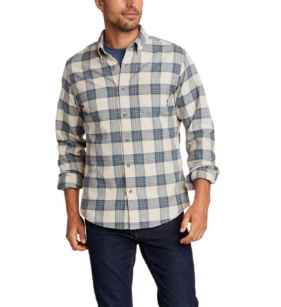 Nice Eddie Bauer mens small soft plaid shirt black and white 100 percent cotton FREE SHIPPING