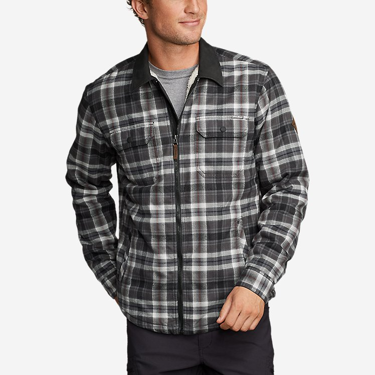 Men's Eddie's Favorite Flannel Sherpa-Lined Shirt Jacket large version