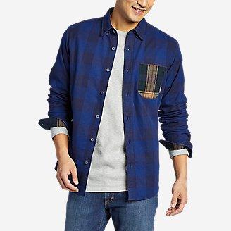 Thumbnail View 1 - Men's Eddie's Favorite Flannel Mixed Media Shirt