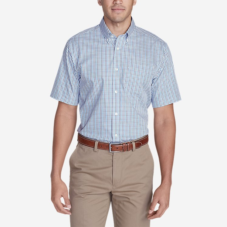 Men's Wrinkle-Free Relaxed Fit Short-Sleeve Pinpoint Oxford Shirt - Blues  large version