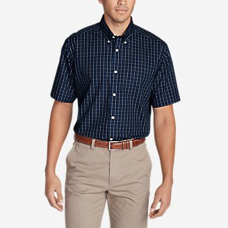 Thumbnail View 1 - Men's Wrinkle-Free Relaxed Fit Short-Sleeve Pinpoint Oxford Shirt - Blues