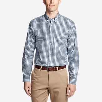 Thumbnail View 1 - Men's Wrinkle-Free Relaxed Fit Pinpoint Oxford Shirt - Blues
