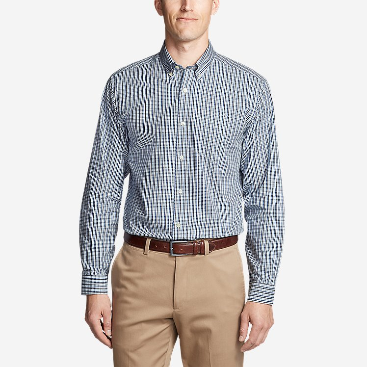 Men's Wrinkle-Free Relaxed Fit Pinpoint Oxford Shirt - Blues large version