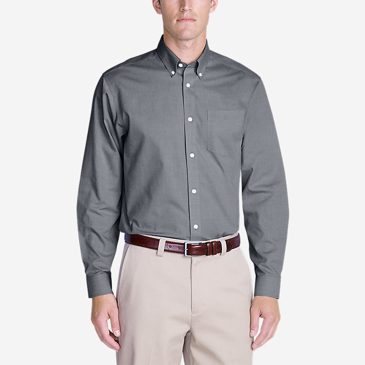 Men's Wrinkle-Free Relaxed Fit Pinpoint Oxford Shirt - Solid Long-Sleeve large version