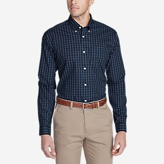 Thumbnail View 1 - Men's Wrinkle-Free Slim Fit Pinpoint Oxford Shirt - Blues