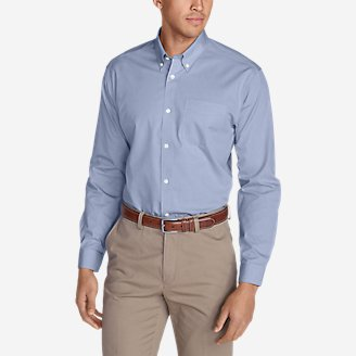 Thumbnail View 1 - Men's Wrinkle-Free Slim Fit Pinpoint Oxford Shirt - Solid