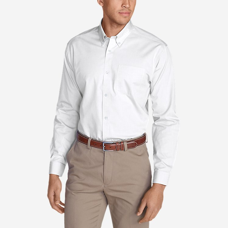 Men's Wrinkle Free Slim Fit Pinpoint Oxford Shirt Solid