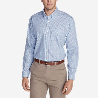 Thumbnail View 1 - Men's Wrinkle-Free Classic Fit Pinpoint Oxford Shirt - Blues