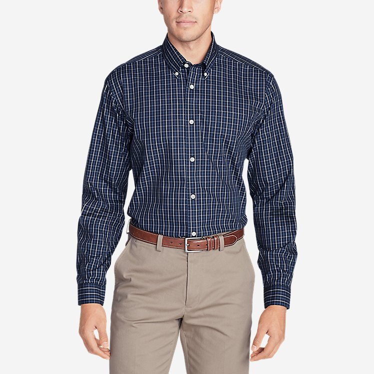 Men's Wrinkle-Free Classic Fit Pinpoint Oxford Shirt - Blues large version