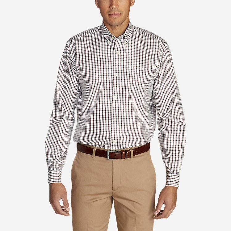 Men's Wrinkle-Free Pinpoint Oxford Relaxed Fit Long-Sleeve Shirt - Seasonal Pattern large version
