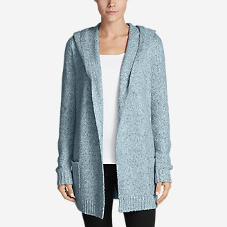 Eddie Bauer cardigan sweaterblue cable knitchain knitthicksize LG