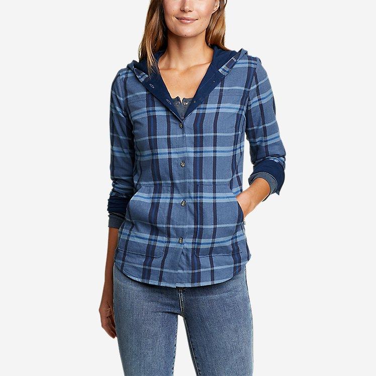Women's Field FLannel Hooded Shirt-Jacket large version
