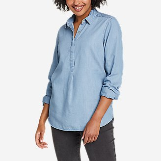 Thumbnail View 1 - Women's Halcyon Long-Sleeve Popover Shirt - Solid