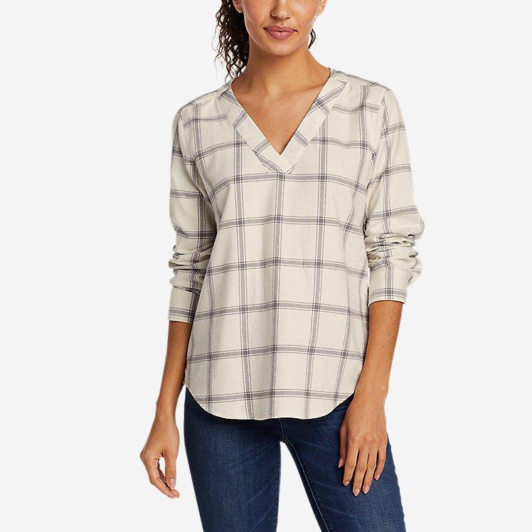 Women's Field Flannel V-Neck Popover Shirt large version