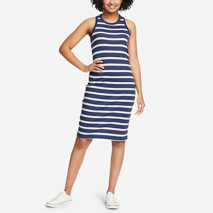 Women's Coast and Climb Rib-Knit Sleeveless Dress - Stripe large version