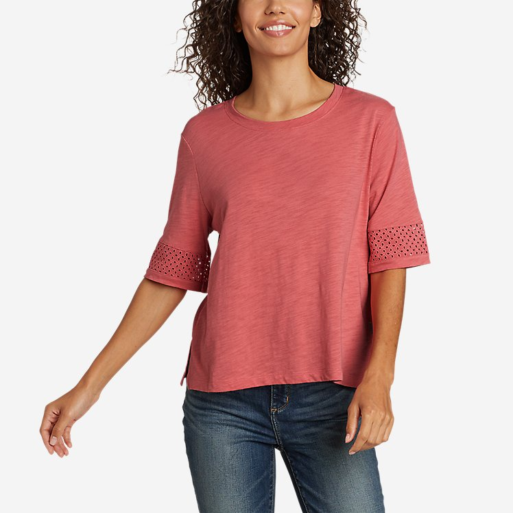 Women's Concourse Short-Sleeve Crochet T-Shirt large version