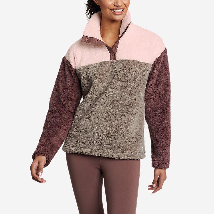 Women's Fast Fleece Plush Snap-Mock - Color Block large version