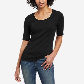 Thumbnail View 1 - Women's Favorite Scoop-Neck Elbow-Sleeve T-Shirt