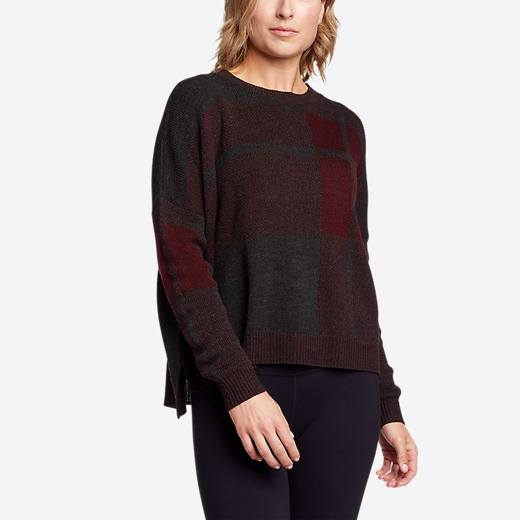 Women's Easy Pullover Crewneck Sweater - Plaid large version